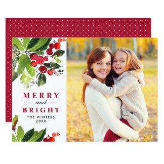 Kort för foto för vattenfärg för julblommigt   12,7 x 17,8 cm inbjudningskort