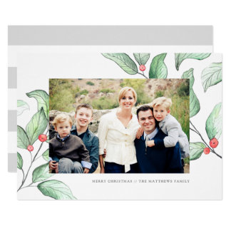 Kort för foto för vinterbärhelgdag 12,7 x 17,8 cm inbjudningskort