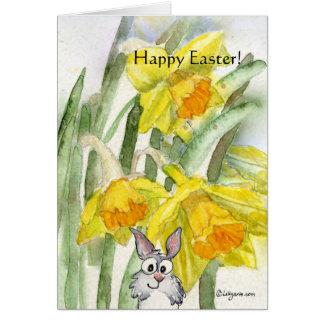 Kort för glad påskpåskliljakanin