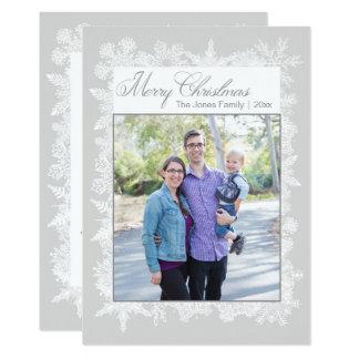 Kort för god julsnöflingorfoto 12,7 x 17,8 cm inbjudningskort