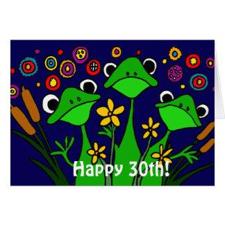 Kort för grattis på födelsedagen för roliga grodor
