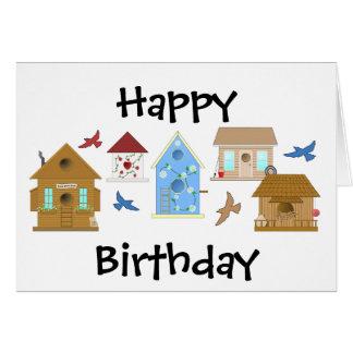 KORT för grattis på födelsedagenfågelhus