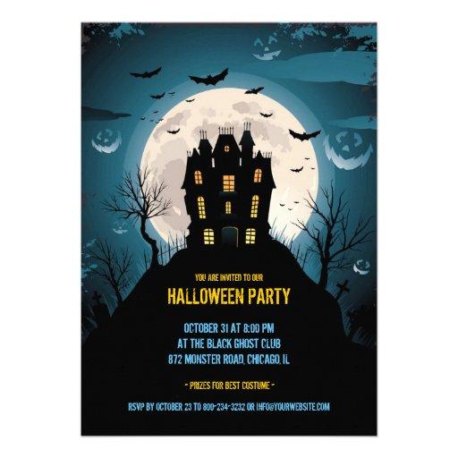 Kort för halloween festlägenhetinbjudan inbjudningskort