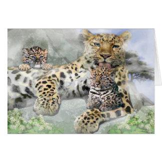 Kort för hälsning för Amur Leopardfamilj