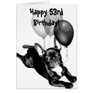 Kort för hälsning för bulldogg för 53rd födelsedag