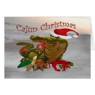 Kort för hälsning för Cajun julSanta alligator