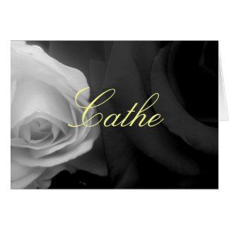 Kort för hälsning för Cathe ~-ro svartvitt