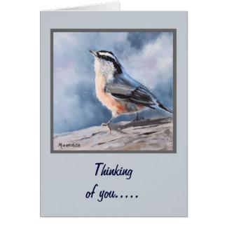 Kort för hälsning för fågelNuthatchkonst