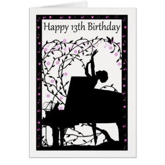 Kort för hälsning för födelsedag för pianolycklig