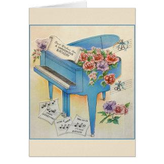 Kort för hälsning för födelsedag för vintagepianom