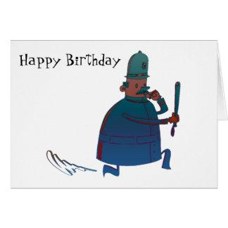 Kort för hälsning för födelsedagtecknadpolis