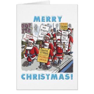 Kort för hälsning för jul för Santa strejkatecknad