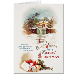 Kort för hälsning för jul för vintagevinterplats