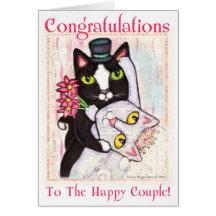 Kort för hälsning för kattbrud- &