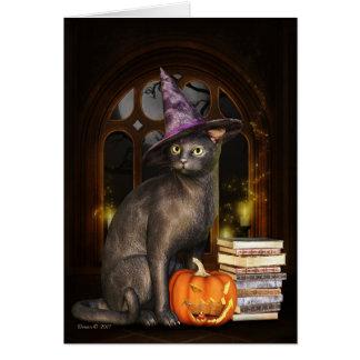 Kort för hälsning för Samhain häxakattunge