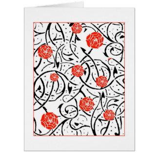 Kort för hälsning för träsnitt för Nouveau röd