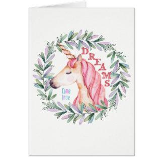 """Kort för hälsning för Unicorn""""drömkom riktigt"""""""