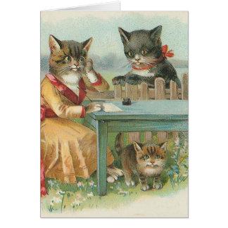 """""""Kort för hälsning för vintage för kattfamiljen"""" Hälsningskort"""