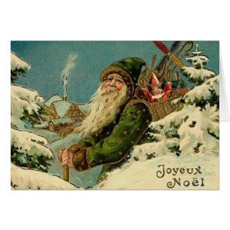 Kort för hälsning för vintagefranskSanta jul