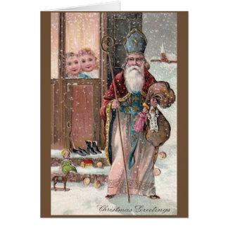 Kort för hälsning för vintageSt Nicholas jul