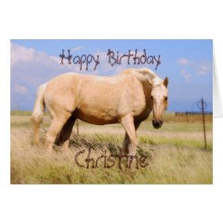 Kort för häst för Christine grattis på