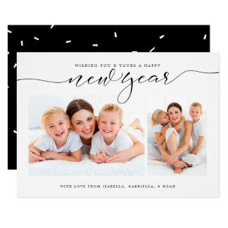 Kort för helgdag för foto för konfettiar två för 12,7 x 17,8 cm inbjudningskort