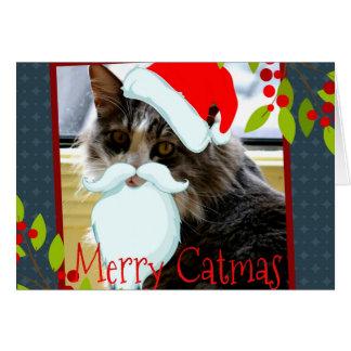 Kort för helgdag för Santa katt roligt
