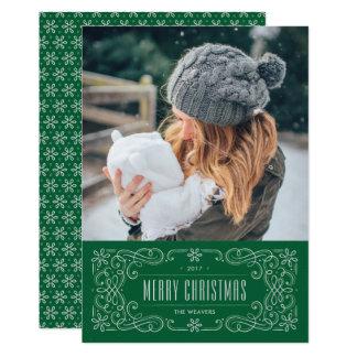Kort för helgdag för Snowflakekrusidullram - gräs 12,7 X 17,8 Cm Inbjudningskort
