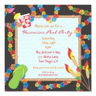 Kort för inbjudan för Luau hawaianskt bassängparty