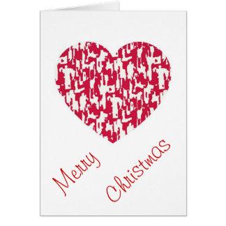 Kort för julhjärtahälsning - rött mönster
