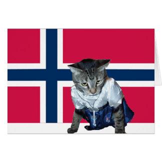 """Kort för katt """"för Gratulerer med-dagen"""" norskt"""