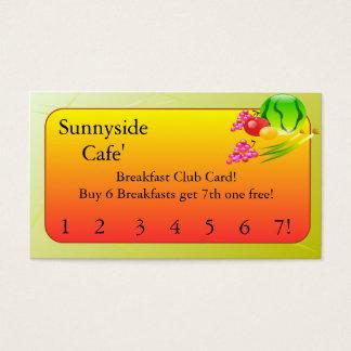 Kort för klubb   för restaurangtillförselfrukost