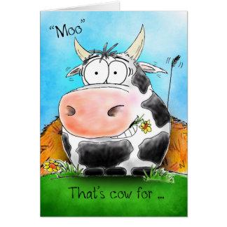 Kort för ko för tecknad för muelakgrattis på