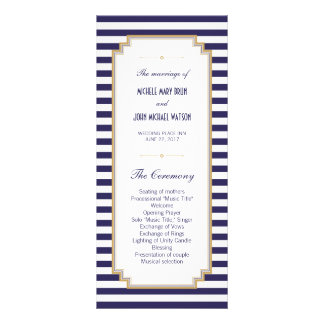 Kort för kugge för bröllopsprogram för blåttvit rackkort med full färg