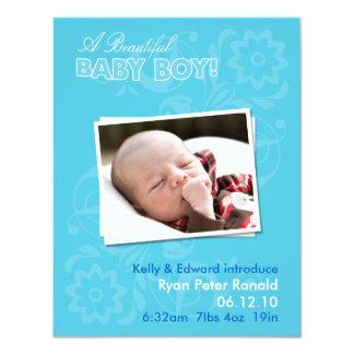 Kort för meddelande för lägenhet för nyfödd 10,8 x 14 cm inbjudningskort