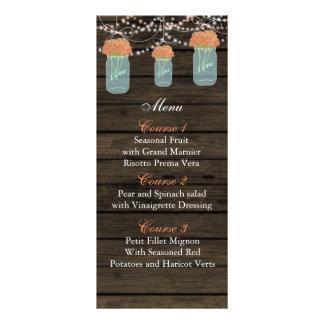 kort för meny för bröllop för burk för