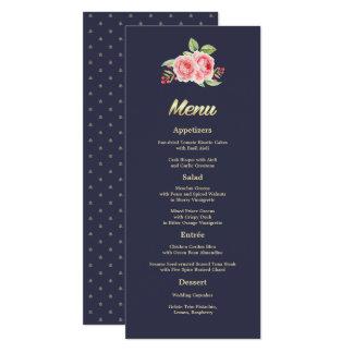 Kort för meny för bröllop för vattenfärgro | 10,2 x 23,5 cm inbjudningskort