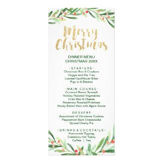 Kort för meny för middag för järnekkrangod jul