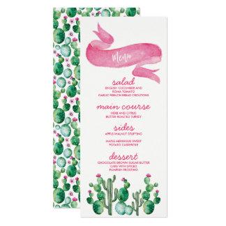 Kort för meny för ökenvattenfärgbröllop 10,2 x 23,5 cm inbjudningskort