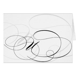 Kort för Monogram för svart- & vitCalligraphy