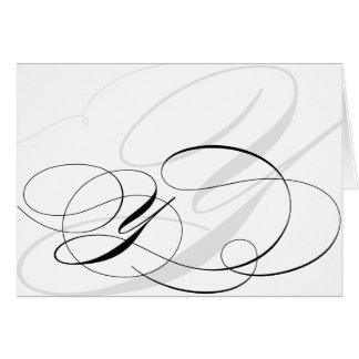 Kort för Monogram för svart- & vitCalligraphy init