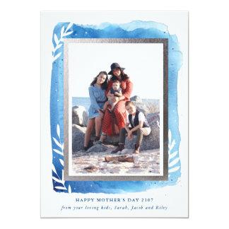 Kort för mors dag för blåttvattenfärg lyckligt 12,7 x 17,8 cm inbjudningskort