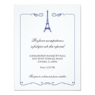 Kort för mottagande för Eiffel torn elegantt 10,8 X 14 Cm Inbjudningskort