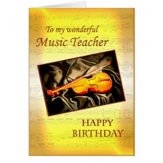 Kort för musikTeacherl födelsedag med en fiol