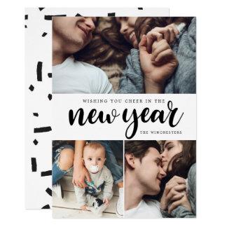 Kort för nytt år för Collage för foto för jubel 12,7 X 17,8 Cm Inbjudningskort