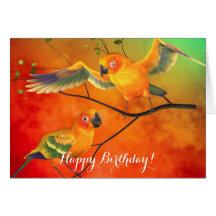 Kort för papegojasolConures födelsedag