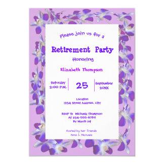 kort för party för pension för lilablommaram blom- 12,7 x 17,8 cm inbjudningskort