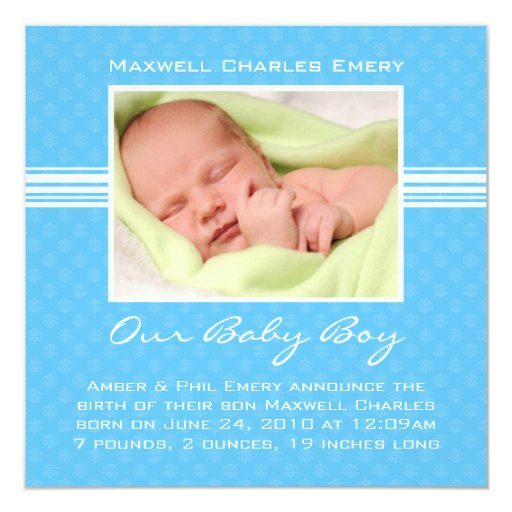 Kort för pojkefödelsemeddelande fyrkantigt 13,3 cm inbjudningskort