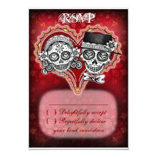 Kort för sockerskallebröllop OSA - day of the dead 8,9 X 12,7 Cm Inbjudningskort