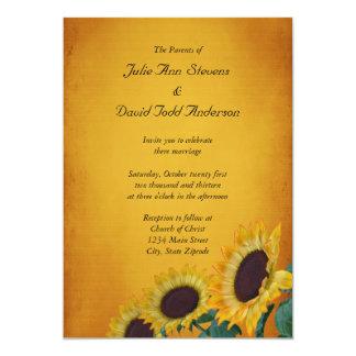 Kort för solrosbröllopinbjudan 12,7 x 17,8 cm inbjudningskort